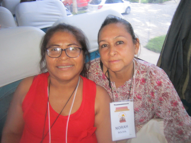 Norah Salcedo of Bolivia (R) and Silvia Uieacu of Peru, who took part in the first meeting of people affected by Hansen's disease or leprosy, complained about the poor care in their countries for people who have the disease. Credit: Mario Osava/IPS