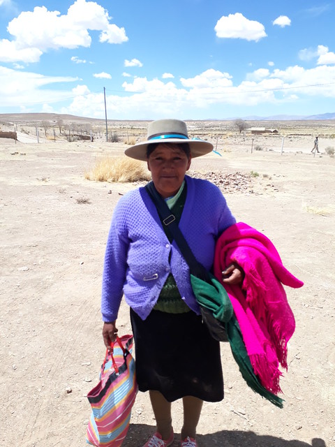 Viviana Gerónimo adds color to the yellow and brown arid landscape of Hornaditas de la Cordillera, one of the Kolla indigenous communities that now have water for the consumption of the 15 local families and for their sheep, llamas and vicuñas, as well as subsistence crops, in this Andean highlands region in the northwest Argentine province of Jujuy. Credit: Daniel Gutman/IPS
