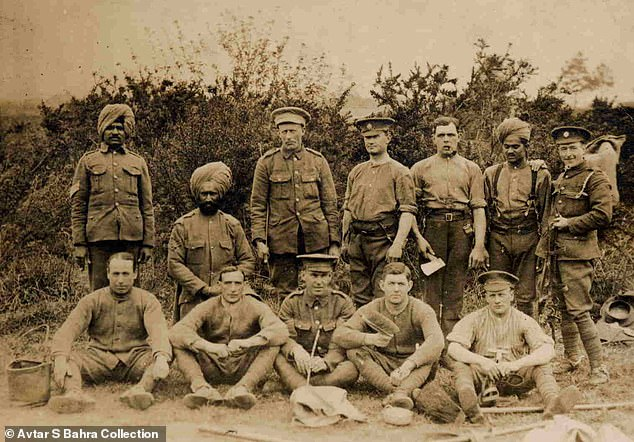 Sikh soldiers from the Indian Service Corps with British Army soldiers on the Western Front in the war in 1916. ISC members were from all over India and also performed labouring tasks