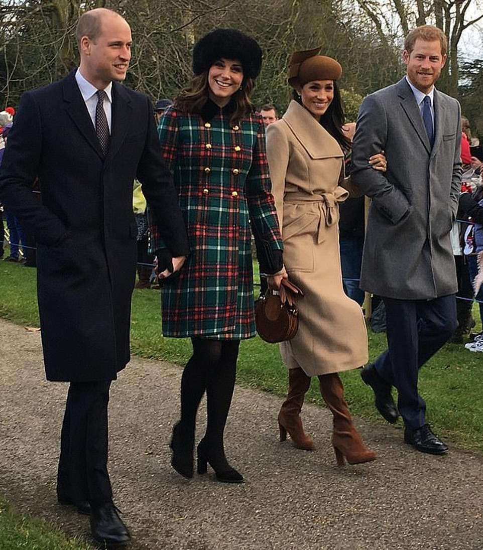 Family fortunes: Smiles at Sandringham for the Fab Four, but the group soon began to crumble after Meghan and Harry wed