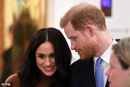 Meghan and Harry (pictured above on Tuesday) have an estimated joint net worth of £34 million