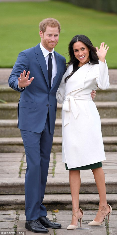 The prince said he was 'thrilled, over the moon' adding: 'Very glad it's not raining as well' and both were full of smiles as they posed