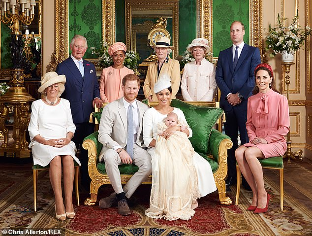 Secret: Harry and Meghan's dramatic decision was taken without the knowledge of the Queen, Prince Charles or Prince William. Pictured with Camilla Duchess of Cornwall, Prince Charles, Ms Doria Ragland, Lady Jane Fellowes, Lady Sarah McCorquodale, Prince William and Catherine Duchess of Cambridge