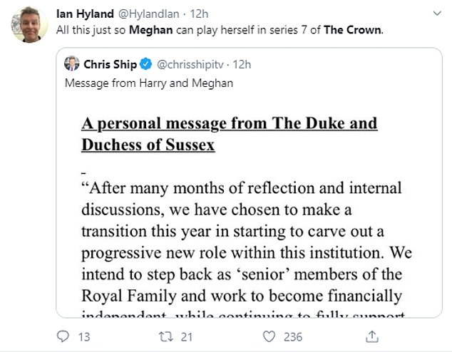 Hilarious:Twitter users pointed out that with Meghan's acting history - having starred in Suits - she could audition to play herself in The Crown