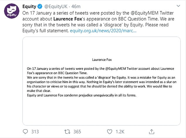 Apology: Equity,the UK actors union, shared this statement on social media on Friday morning which led to the mass resignation