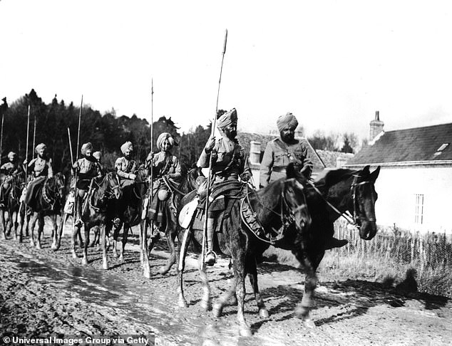 A patrol of Indian lancers near Amiens in France soon after the outbreak of war in autumn 1914. The I Indian Corps of 3rd (Lahore) and 7th (Meerut) were part of Indian Expeditionary Force A