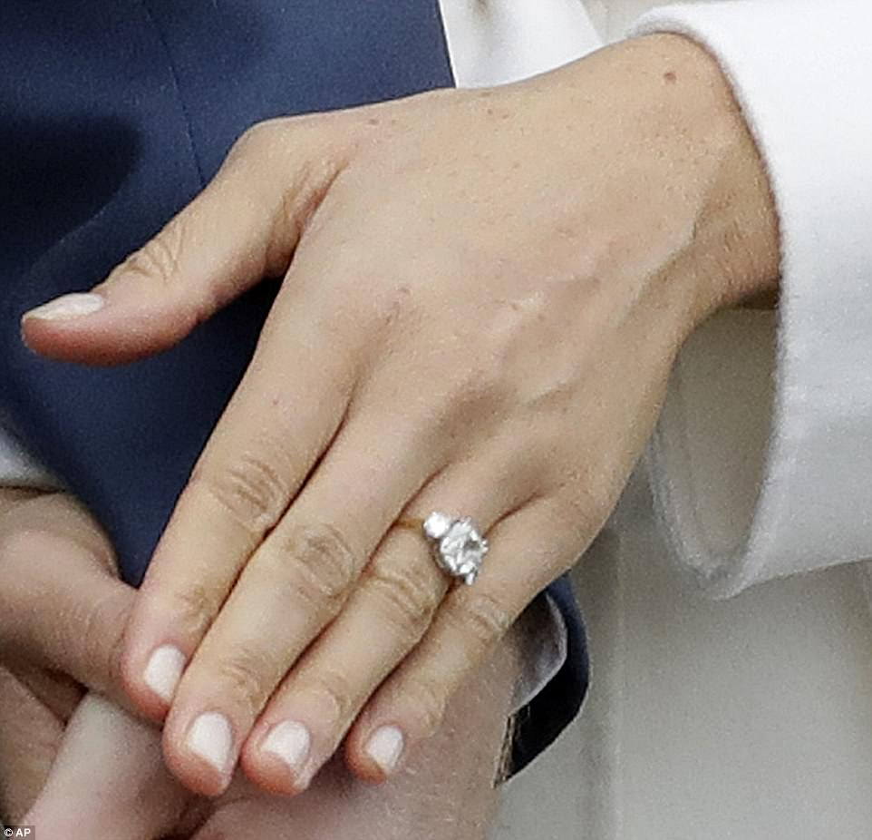 Meghan's engagement ring's two outer diamonds are from Diana's own collection with a central diamond from Botswana - where they went on safari in September - all set within a gold band