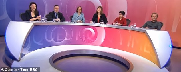Fancy meeting you here: Madeline was on the far left of the Question Time panel when Laurence appeared on the show