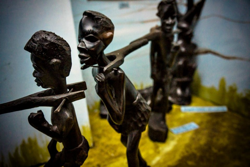 Carvings depict a caravan of people being taken into slavery at Lake Malawi Museum in Mangochi, Malawi. (Wikimedia Commons/Tim Cowley)
