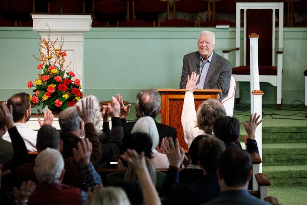 Former President Jimmy Carter at his Sunday school class at Maranatha Baptist Church in Plains, Ga., in 2019.